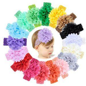 Flower Headband -pink, green, purple, yellow, blue